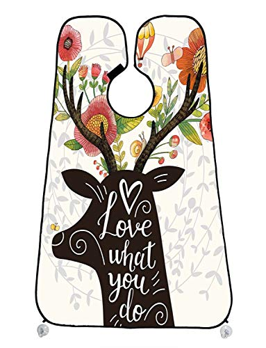 Custom Spring Lush Floral Flower Christmas Gift Reindeer Hot Balloon Beard Shave Apron Beard Hair Clippings Catcher Grooming Cape Apron 47x30 inch]()