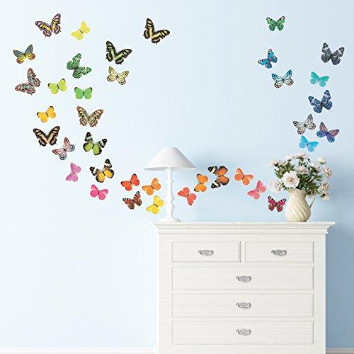 Decowall DA-1705 Vivid Butterflies Kids Wall Decals Wall Sti