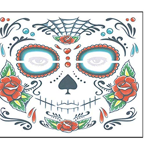 Inverlee 2PCS Facial Skull Temporary Tattoos Day of The Dead Sugar Skull Stickers Halloween Party Terror Scar Makeup Tattoo Stickers (C) -