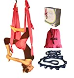 Wing Yoga Swing - Antigravity Yoga Hammock with Straps Daisy Chain - Red