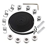 KeeYees 5M GT2 Timing Belt 6mm Width + 4pcs 20 Teeth 5mm Bore Belt Pulley Wheel + 4pcs Idler + 4pcs Tensioner Spring Torsion + 2pcs Gear Clamp Mount Block with Allen Wrench for 3D Printer RepRap