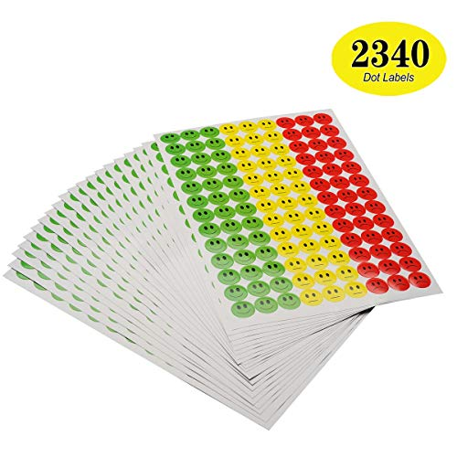 ONUPGO Pack of 2340 Smiley Face Stickers Happy Face Incentive Stickers Circle Dots Labels, 3/4