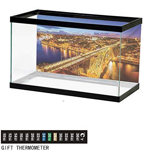 (wwwhsl Aquarium Background,City,Porto Dom Luis Bridge at Night River Portuguese Coast Mediterranean View,Apricot Violet Blue Fish Tank Backdrop 48