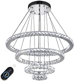 VALLKIN Dimmable Modern Round Ring Clear K9 Crystal Chandeliers Lighting Ceiling Pendant Light Fixture Lamp 4 Rings for Living Dining Conference Bedroom Foyer Hallway Review