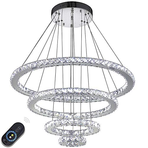 VALLKIN Dimmable Modern Round Ring Clear K9 Crystal Chandeliers Lighting Ceiling Pendant Light Fixture Lamp 4 Rings for Living Dining Conference Bedroom Foyer Hallway