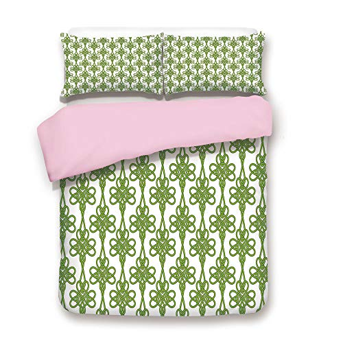 (Pink Duvet Cover Set,King Size,Entangled Clover Leaves Twigs Celtic Pattern Botanical Filigree Inspired Retro Tile Decorative,Decorative 3 Piece Bedding Set with 2 Pillow Sham,Best Gift For Girls Wome)