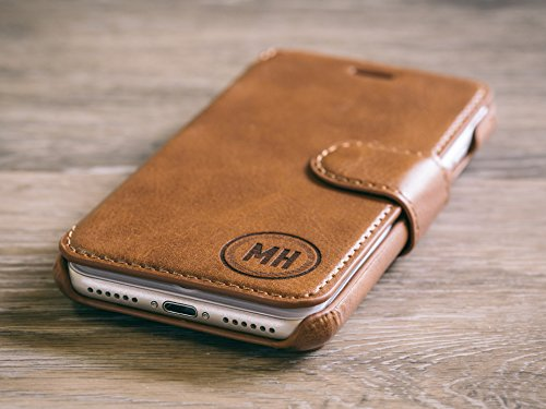 Personalized Vegan Leather iPhone 7 Wallet Case - Functional Slim Minimalist Phone Case Holds ID, Money and Card Holder - Great Idea - Includes Custom Laser Engraving - Circle, Brown