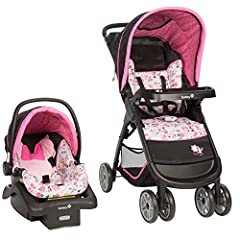 The Disney Baby Garden Delight Minnie Mouse Amble Quad Travel System Stroller with OnBoard 22 LT Infant Car Seat allows your child to travel with comfort and style. Built with innovative QuickClick technology for a seamless transition from ca...