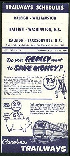 Trailways Bus Schedules Raleigh-Washington NC-Jacksonville NC 9/26 1954 Trailways Bus