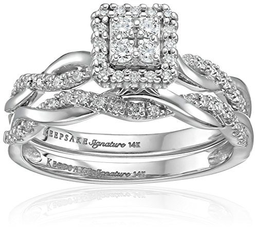 Keepsake Signature 14k White Gold Diamond Twist Engagemen...