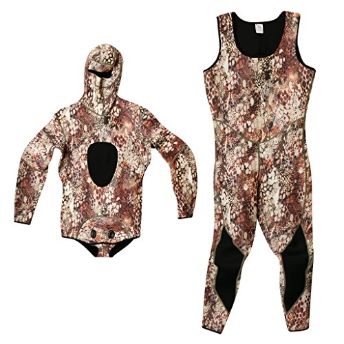 MonkeyJack Premium 3mm Neoprene Wetsuits for Men Two-Pieces Design Super Stretch for Diving Snorkeling Spearfishing Swimming Fishing Freediving Surfing - Camouflage - Camouflage, XL