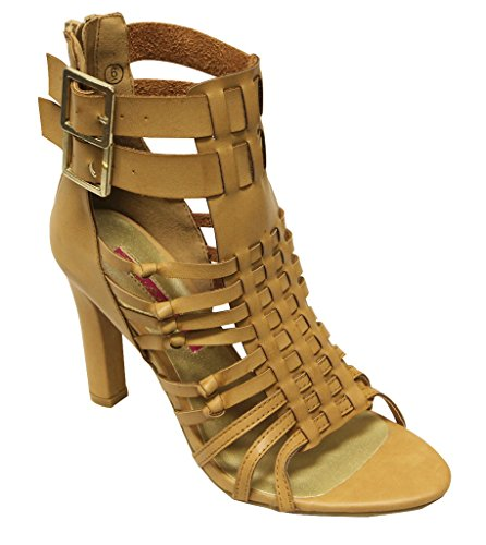 Natural straps buckled heel Back PU Multi Womens ankle C Label High 5 sandals Vince Zippers qW6zHf