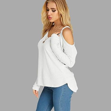 ❤ Camiseta de Manga Larga de Hombro frío para Mujer Blusas con Cuello en V Casual Blusa Absolute: Amazon.es: Ropa y accesorios