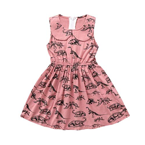 Baby Girls Cartoon Dinosaur Print Sleeveless Vest Dresses Outfits (24M, Pink)