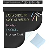 "Kassa Chalkboard Wall Sticker Decal Roll (Extra Large - 6.5' x 18"") - 5 Chalk & Eraser Cloth Included - Blackboard Paint Alternative - Adhesive Board Peel Stick Vinyl Wallpaper Contact Paper"
