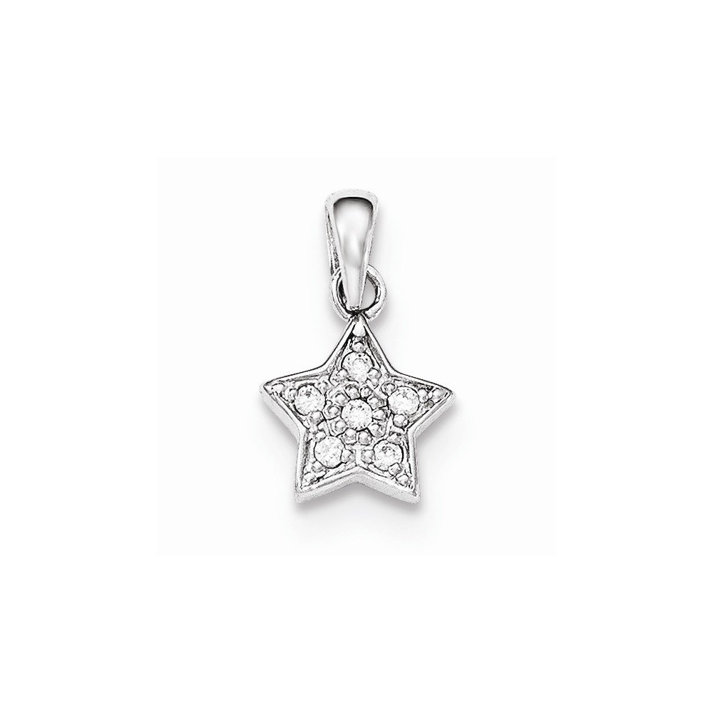 925 Sterling Silver Polished Cubic Zirconia Star Pendant