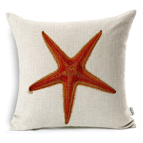 Kingla Home Coastal Theme Sea Star Pillowcase 18 X 18 Inch Cotton Linen Square Decorative Throw Pillow Covers Zippered Cushion Cover for Sofa