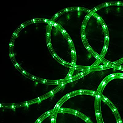 "West Ivory 3/8"" GREEN LED Rope Lights 2 Wire Accent Holiday Christmas Party Decoration Lighting (10', 25', 60', 150' ft option)