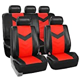 FH GROUP FH-PU021115 Synthetic Leather Full Set Auto Seat Covers, Red / Black Color (Minimal black stains 30% off Final Sale)