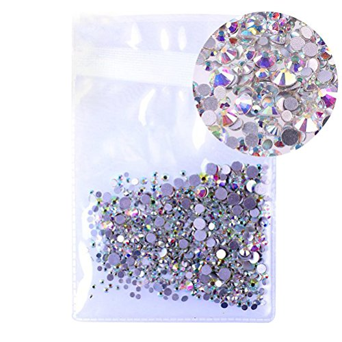 ULTNICE 1440PCS AB Crystal Glass Clear Glasses Flat Bottom Water Nail Drill Fitting