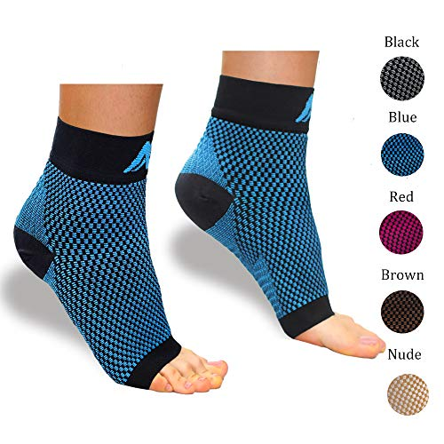 ACTINPUT Compression Foot Sleeves for Men & Women – Best Plantar Fasciitis Socks with Arch Support (Black/Blue, Medium)