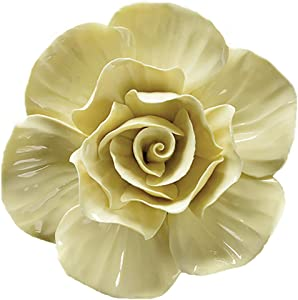 ALYCASO Rose Ceramic Flower Wall Décor Artificial 3D Flower Wall Art for Living Room Home Hallway Bedroom Kitchen Farmhouse Bathroom Dining Room, Yellow, 5.51 inch