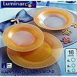 Juego de platos x 12 personas Luminarc 36 piezas mod happy stripes amarillo