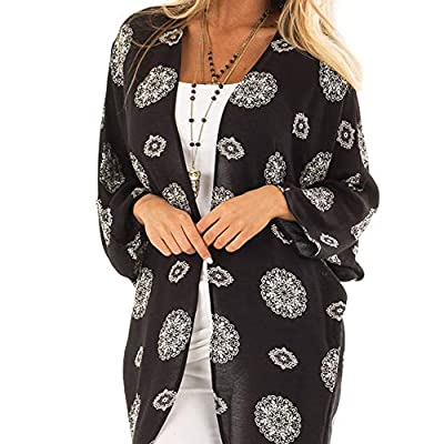 XOWRTE Cardigan for Women Plus Size Long Sleeve Outerwear Kimono Blouse Jacket Autumn Flower Print Cover Smock Coat