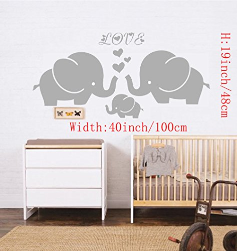 Large Cute Elephant Family With Hearts Wall Decals Baby Nursery Decor Kids Room Wall Stickers, (Large)40''W x19''H, Grey (Baby Decor Wall Stickers)