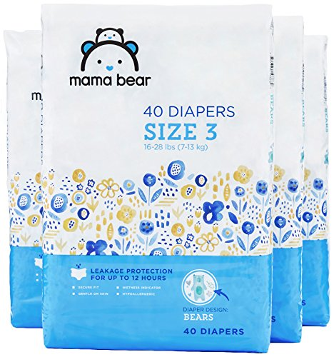 Amazon Brand - Mama Bear Diapers Size 3, 160 Count, Bears Print (4 packs of 40) -