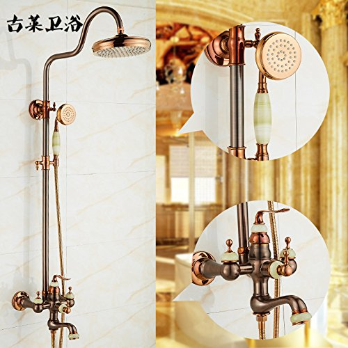 A Luxury Green Jade) Hlluya Professional Sink Mixer Tap Kitchen Faucet Cold water faucet natural jade shower set pink gold brown-copper antique hot and cold, a luxury black jade