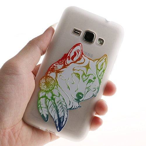 Funda Samsung Galaxy J1 2016 SM-J120F,XiaoXiMi Carcasa de Silicona TPU Suave y Esmerilada Funda Ligero Delgado Carcasa Anti Choque Durable Caja de Diseño Creativo - Flores de Datura Lobo