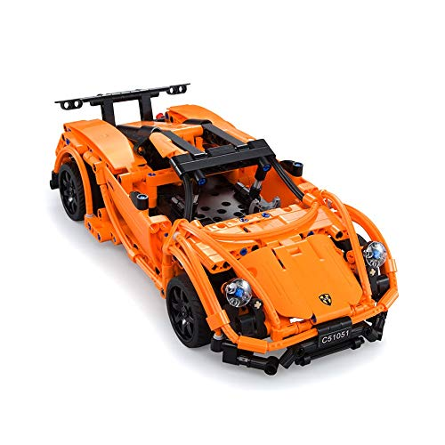 The perseids DIY Building Kit Car Toy, 2.4 Ghz Remote Control Vehicle in Orange 421 pcs USB Rechargeable, Gift for 6-14 Years Old Boys Girls …