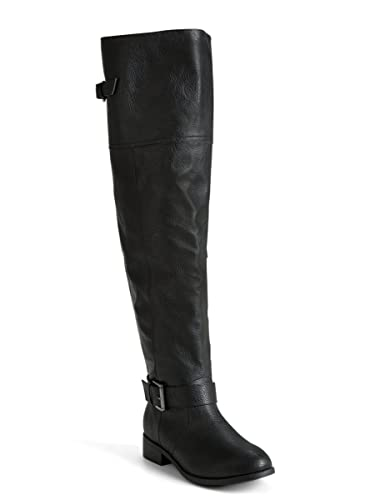 Amazon.com | Faux Leather Over The Knee Boots (Wide Width & Wide ...