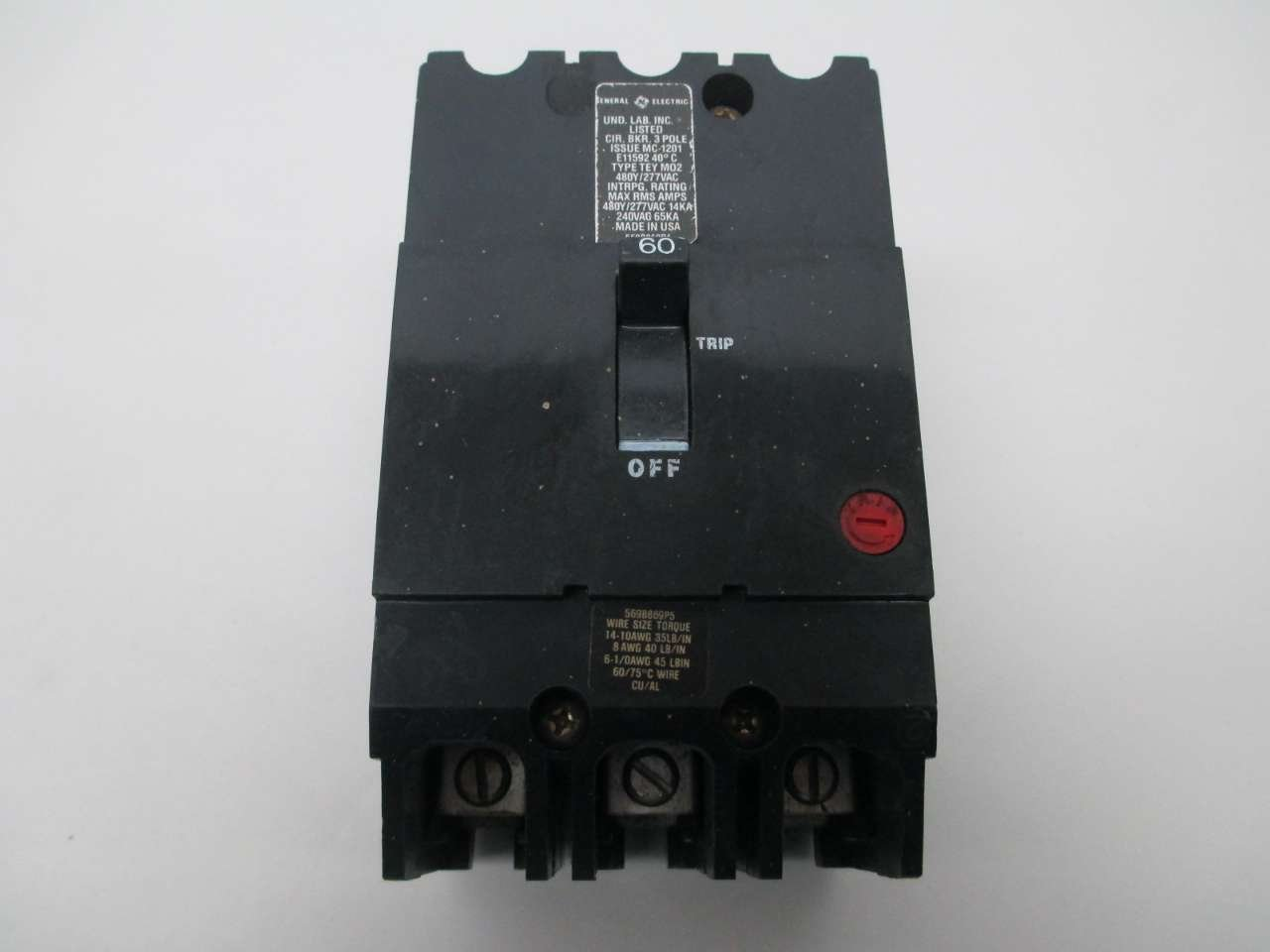 GE TEY360 Bolt-On Mount Type TEY Molded Case Circuit Breaker 3-Pole ...