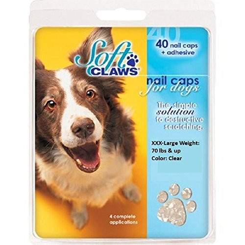 Soft Claws Canine Nail Caps - 40 Nail Caps and Adhesive for Dogs (Clear, XXX-Large)