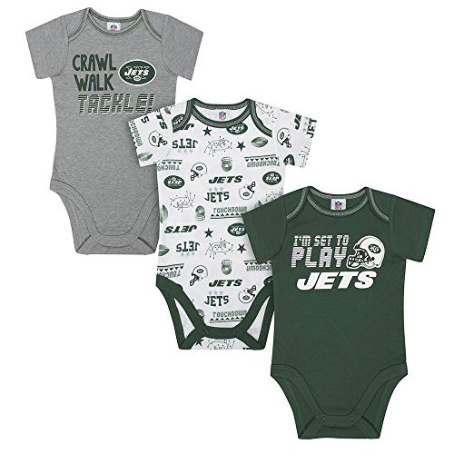(NFL New York Jets Unisex-Baby 3-Pack Short Sleeve Bodysuits, Green, 6-12 Months )