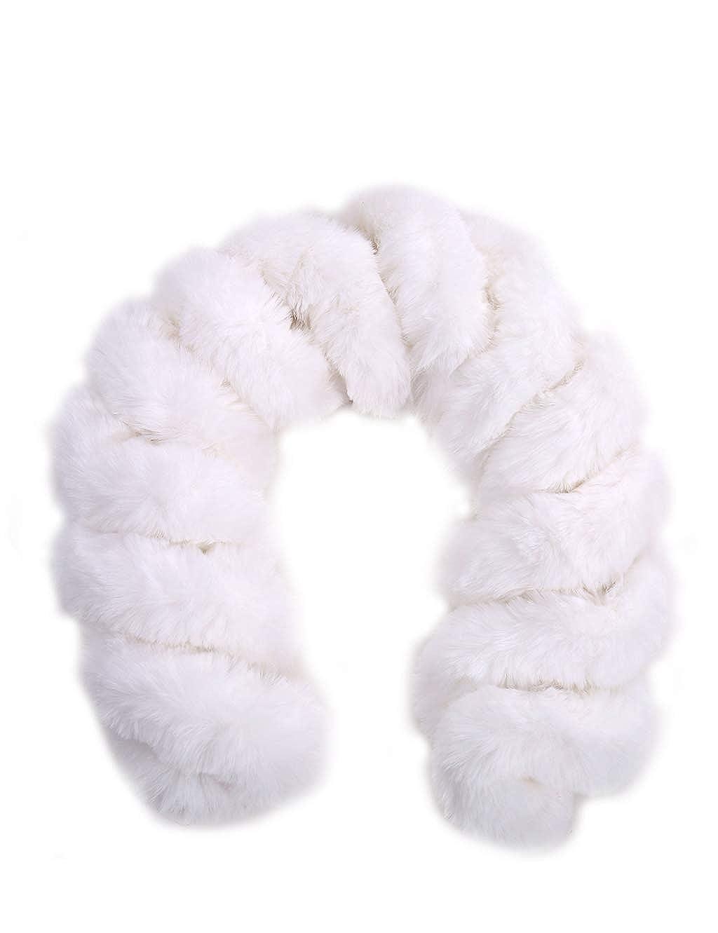 White FAITH YN Fashion Faux Fur Scarf for Women's Spiral Twist Shape Scarf Fur Cold Wraps Scarfves