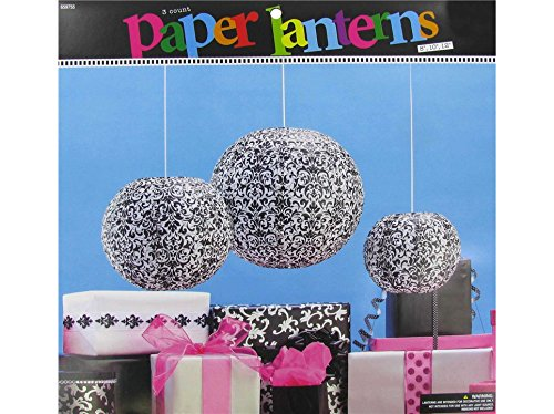 Black & White Damask Paper Lanterns Birthday Decoration Party Supply Decoration -