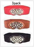 Cinch belt plus size stretch Dress belt elastic waistband ladies waist loose belt ladies belt. (Black .Red.Brown)3PACK