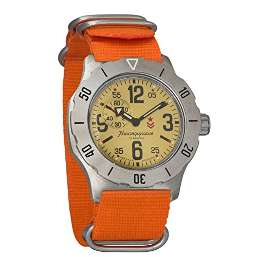Auto Power Reserve Mens Watch - Vostok Komandirskie K-35 Mechanical AUTO Self-winding Mens Military Wrist Watch #350749 (orange)
