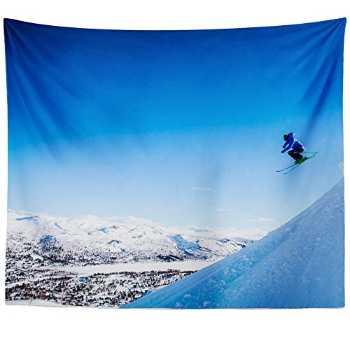 Westlake Art - Ski Winter - Wall Hanging Tapestry - Picture Photography Artwork Home Decor Living Room - 68x80 Inch (2B0A7)