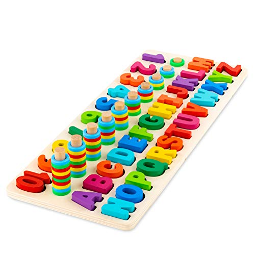 Toy To Enjoy Wooden Alphabet & Numbers Puzzle Toy for Kids - Number 1-10 and ABC Letters Montessori Jigsaw - Learning & Early Educational Toy for Number Counting & Shape Sorting