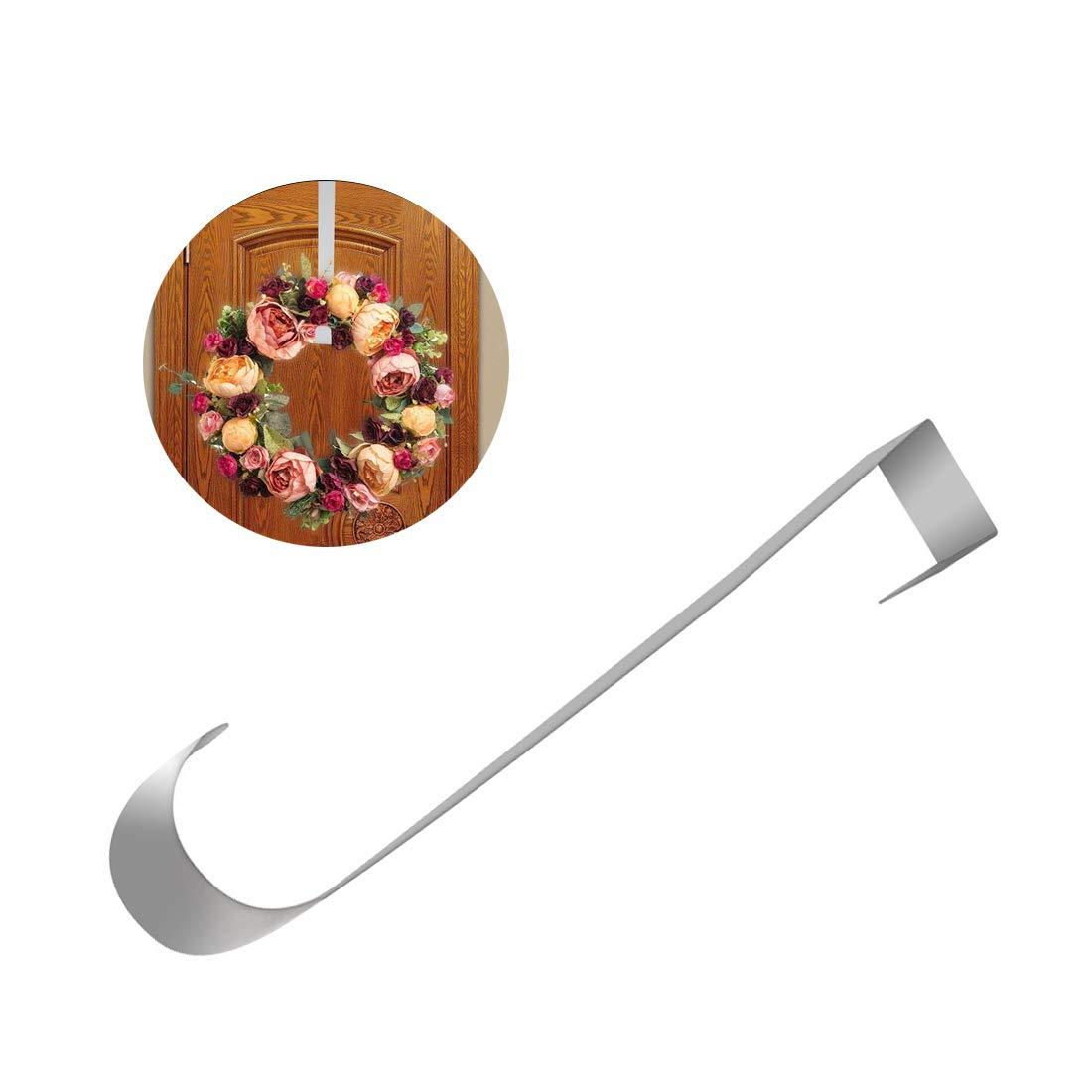 Gancho de Metal para Colgar sobre la Puerta Metal 38 * 3cm Blanco Leikance dise/ño de Corona de Navidad