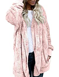 Womens Fuzzy Fleece Oversized Open Front Cardigan Hooded Jacket Outerwear Coat