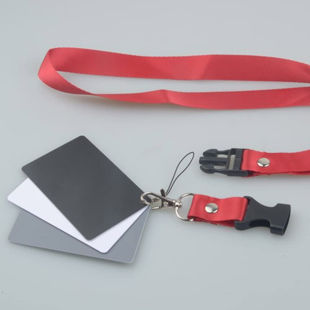 Andoer 3 in 1 Pocket-Size Digital White Black Grey Balance Cards 18/% Gray Card with Neck Strap for Digital Photography