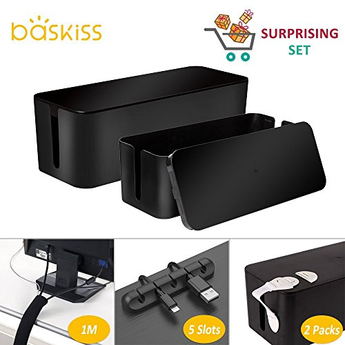 (Cable Management Kit, 2 Cable Management Boxes, 39 inch Cable Sleeve, 5 Slots Cord Clip, Baby Safety Locks, Cord Management System for Theater Home Office Desk TV Computer USB Hub)