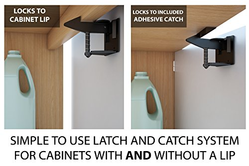 Cabinet Locks Child Safety Latches - Quick and Easy Adhesive Baby Proofing Cabinets Lock and Drawers Latch - Child Safety with No Magnetic Keys to Lose, and No Tools, Drilling or Measuring Required by The Good Stuff (Image #4)