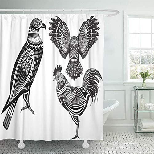 Semtomn Decorative Shower Curtain Eagle of Tribal Totem Animals Owl Tattoo Rooster Bird 66