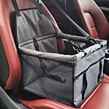 Pet Car Seat Cover Carrier with Seat Belt for Dog Cat Puppy Kitty up to 25lbs (Gray)